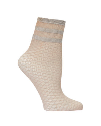 Metallic Striped Diamond Net Socks, BLUSH, hi-res