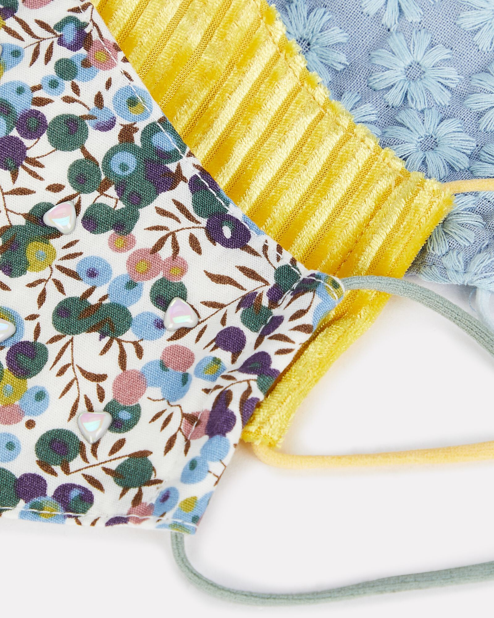 Embroidered Face Mask 3-Pack, YELLOW/BLUE/FLORAL, hi-res