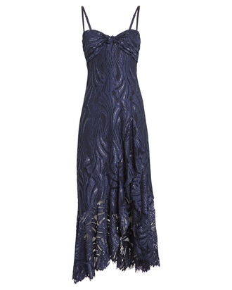 Metallic Lace Twist Top Dress, BLUE-LT, hi-res