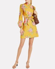 Zinnia Bow Cut-Out Mini Dress, YELLOW/FLORAL, hi-res