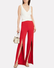 Satin Combo Front Slit Pants, RED, hi-res