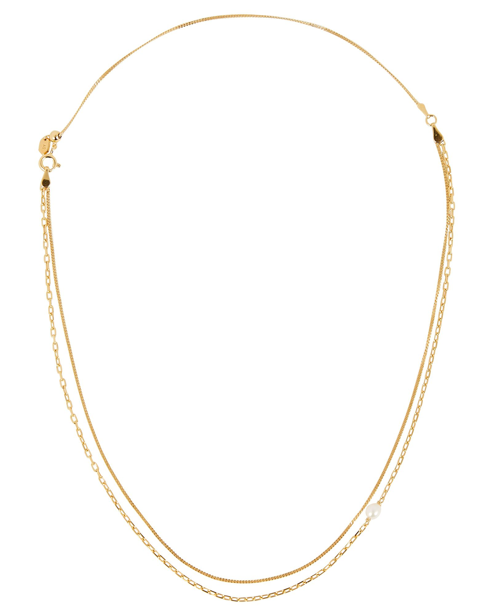 Cantare Pearl Chain-Link Necklace, GOLD, hi-res