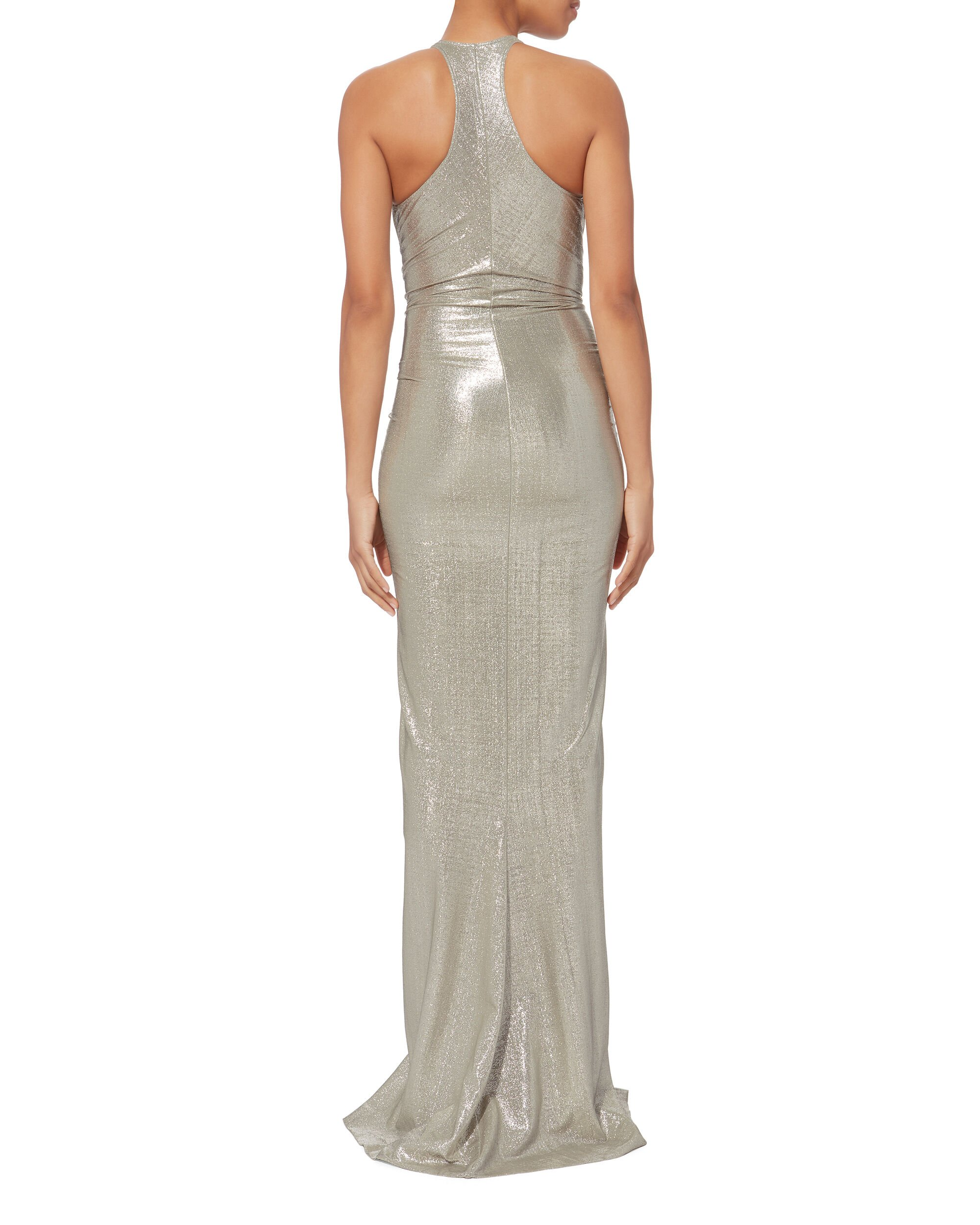 Ruched Metallic Gown, SILVER, hi-res