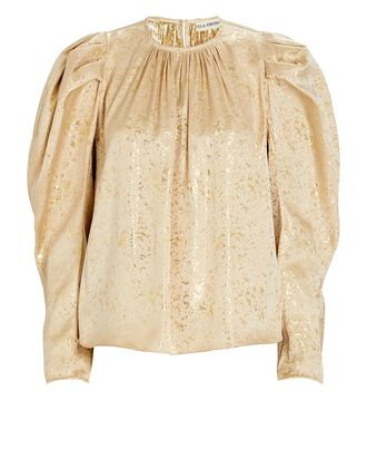 Ivy Gilded Balloon Sleeve Blouse, GOLD, hi-res