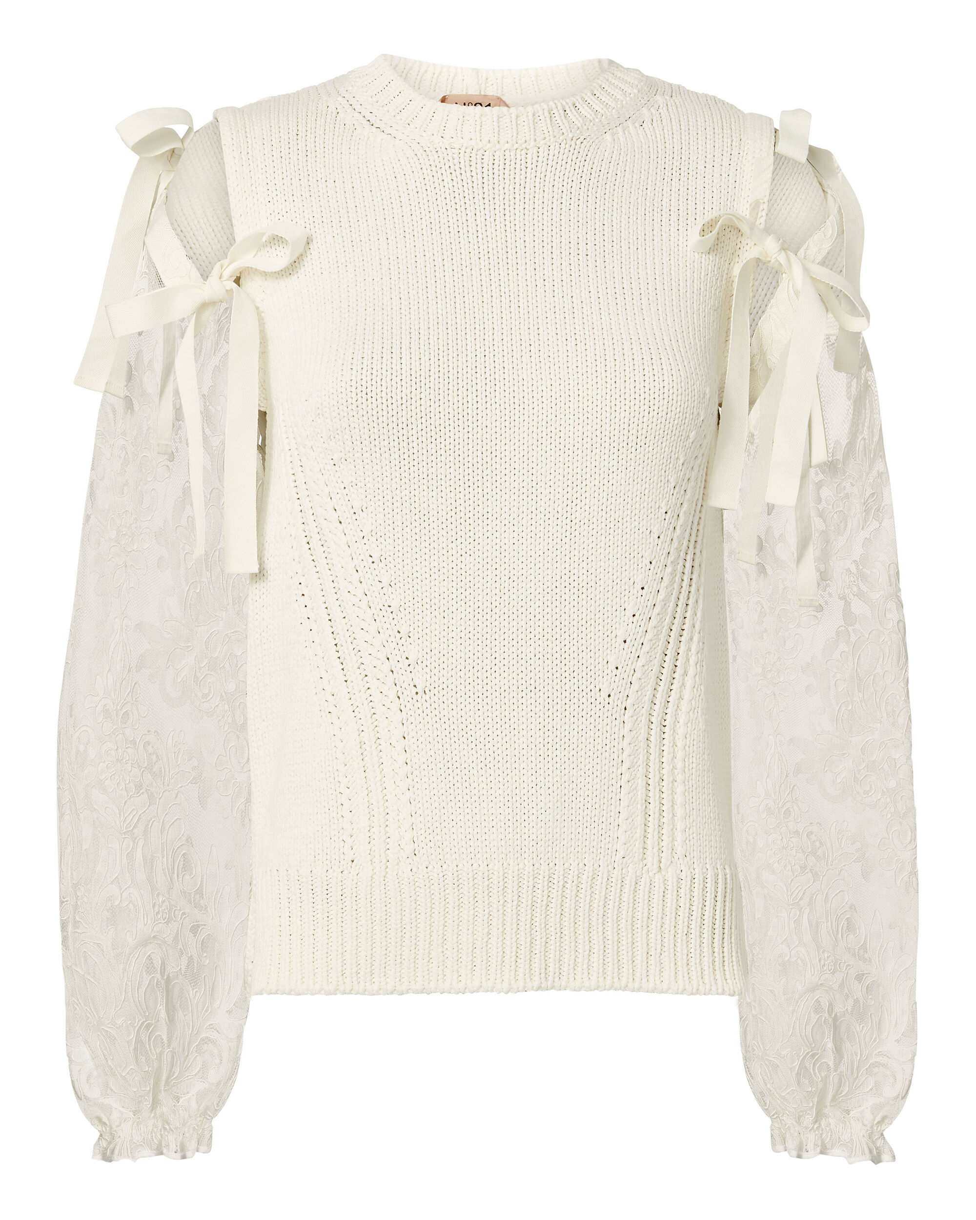 Lace Tie Sleeve Sweater, WHITE, hi-res