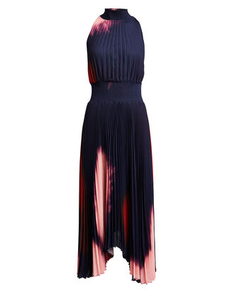 Renzo Tie-Dye Pleated Midi Dress, MIDNIGHT/OMBRE, hi-res