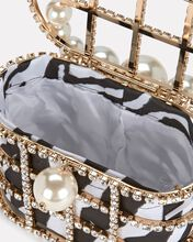 Holli Cage Pearl And Crystal Clutch, BLK/WHT, hi-res
