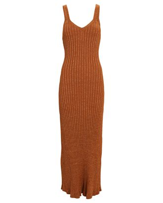 Goldie Rib Knit Midi Dress, BROWN, hi-res