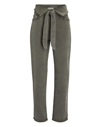 Valentina Foldover Tie-Waist Jeans, OLIVE/ARMY, hi-res
