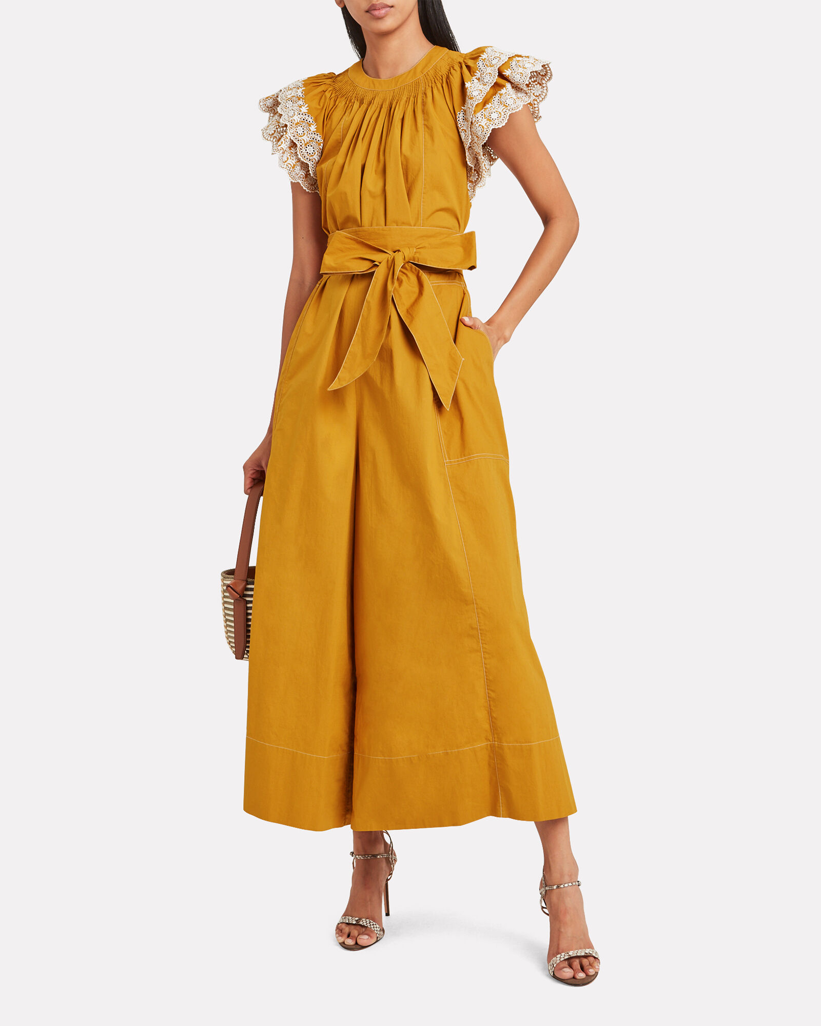 Landon Embroidered Poplin Jumpsuit, YELLOW, hi-res