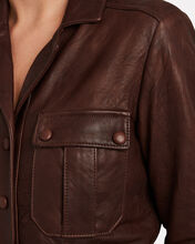 Artemis Tumbled Leather Utility Jumpsuit, BROWN, hi-res