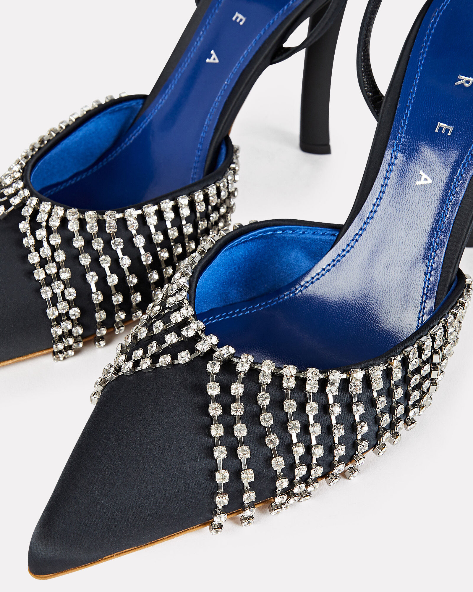 Crystal Embellished Satin Pumps, BLACK, hi-res