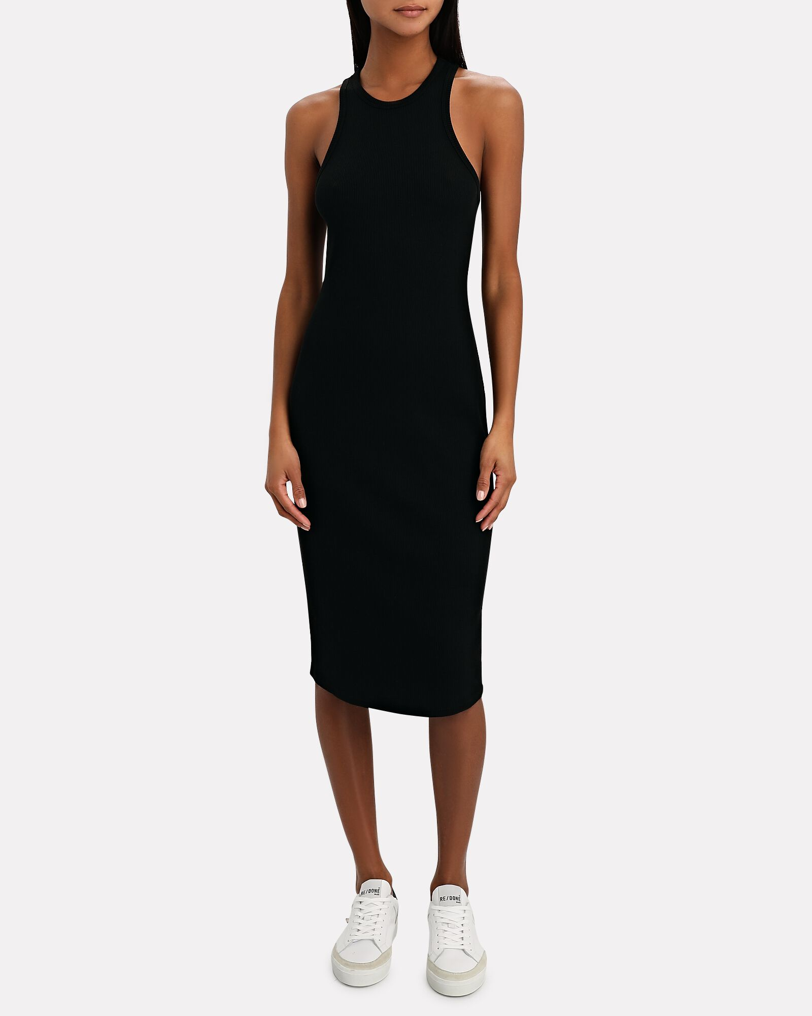 Racerback Rib Knit Midi Tank Dress, BLACK, hi-res