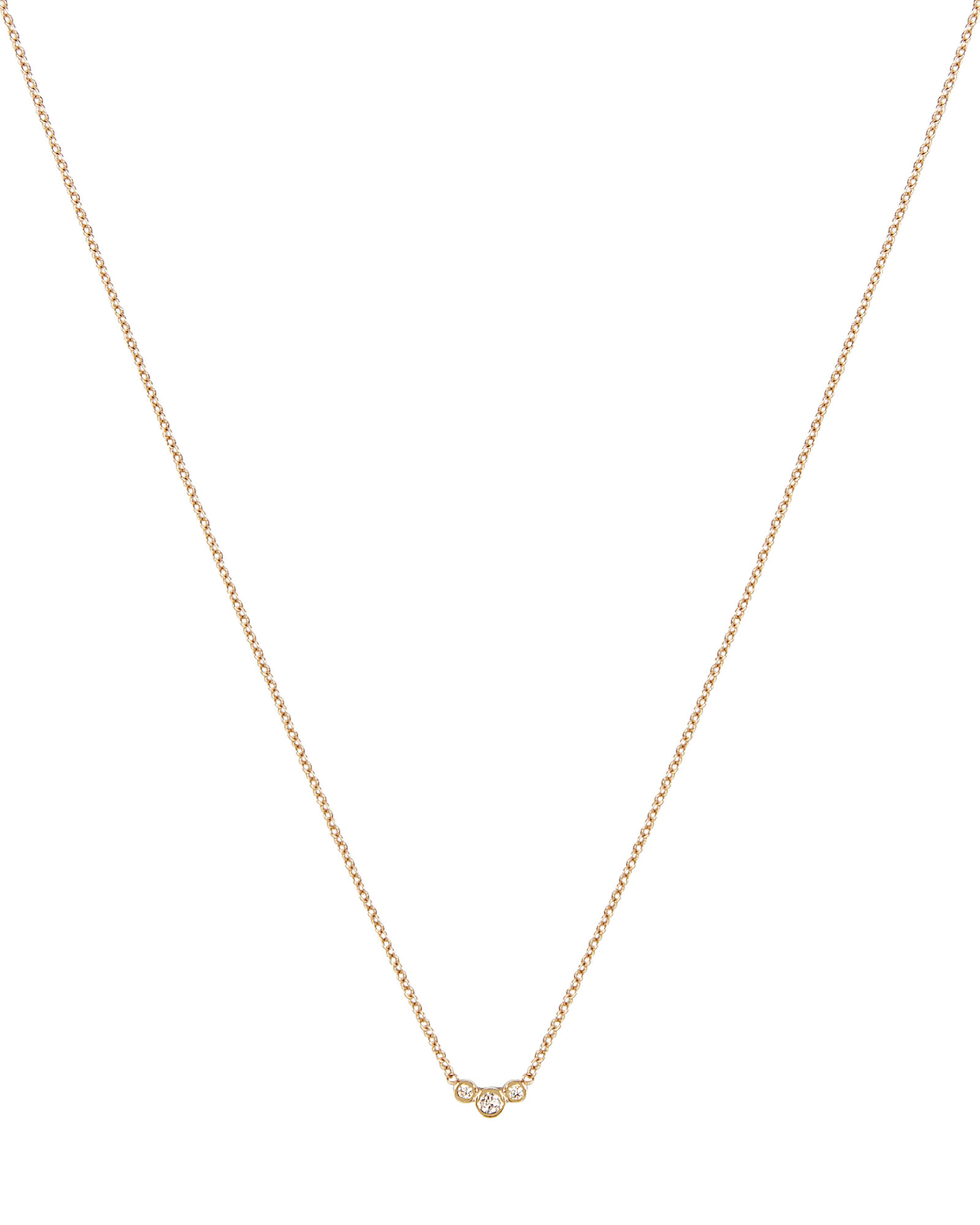Small Graduated Diamonds Necklace, GOLD, hi-res