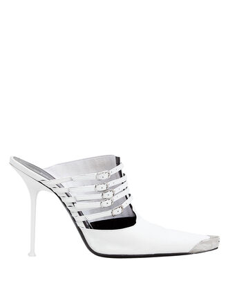 Minna Cap Toe Stiletto Mules, WHITE, hi-res
