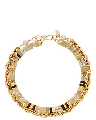 Eva Beaded Chain-Link Necklace, GOLD/BEIGE/BLACK, hi-res