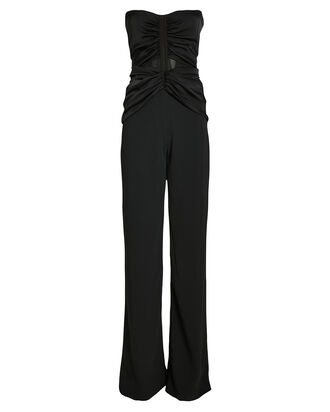 Ruched Strapless Bustier Jumpsuit, BLACK, hi-res