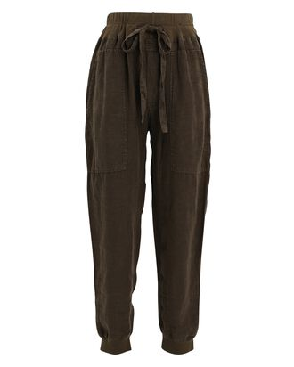 Utility Cotton-Linen Joggers, OLIVE/ARMY, hi-res
