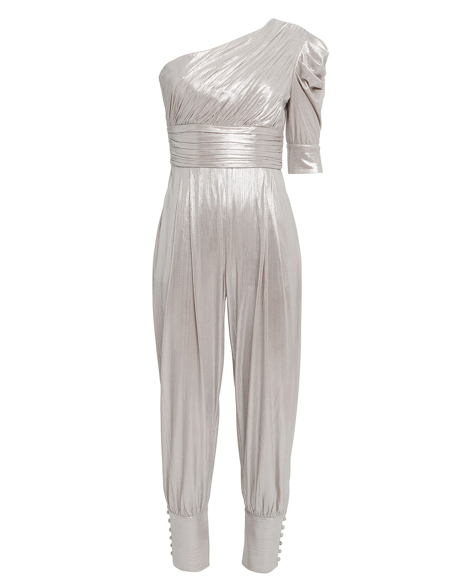 Thambi One Shoulder Lamé Jumpsuit, SILVER, hi-res