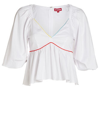 Dani Poplin Balloon Sleeve Top, WHITE, hi-res