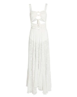 Lace Cut-Out Maxi Dress, IVORY, hi-res