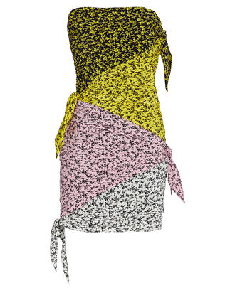 Colorblocked Floral Strapless Dress, FLORAL COLORBLOCK, hi-res