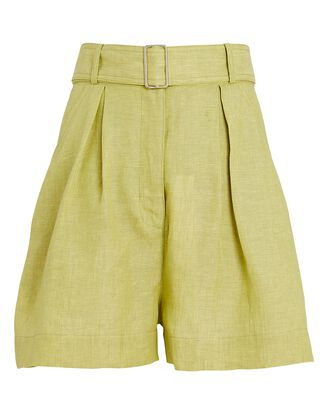 Pleated Linen High-Rise Shorts, GREEN-LT, hi-res