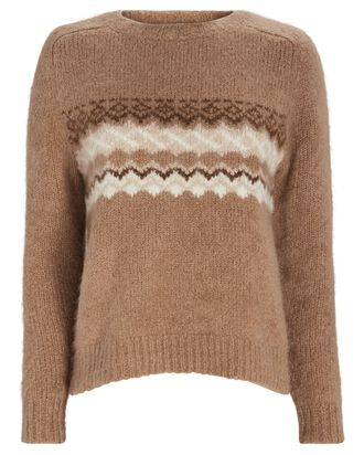 Kayle Alpaca Fair Isle Sweater, BROWN, hi-res