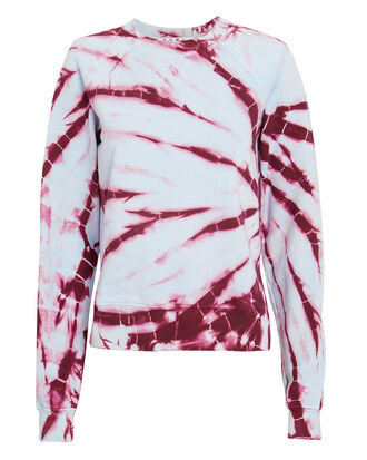 Tie-Dyed Shrunken Sweatshirt, BLUE/RED, hi-res