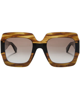 Colorblock Tortoiseshell Square Sunglasses, BROWN, hi-res