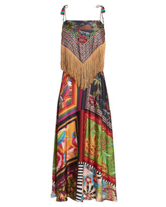 Scarves Fringed Midi Dress, BLACK/PINK, hi-res