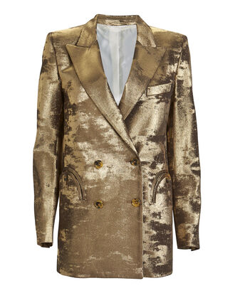 Lamé Everyday Blazer, GOLD, hi-res