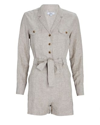 Mia Belted Long Sleeve Romper, LIGHT GREY, hi-res