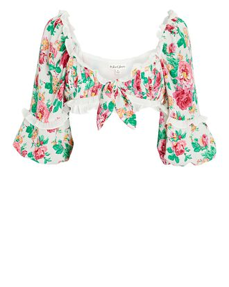 Becca Floral Tie-Front Crop Top, WHITE/PINK/GREEN, hi-res