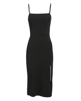 Lucia Sleeveless Slit Front Dress, BLACK, hi-res