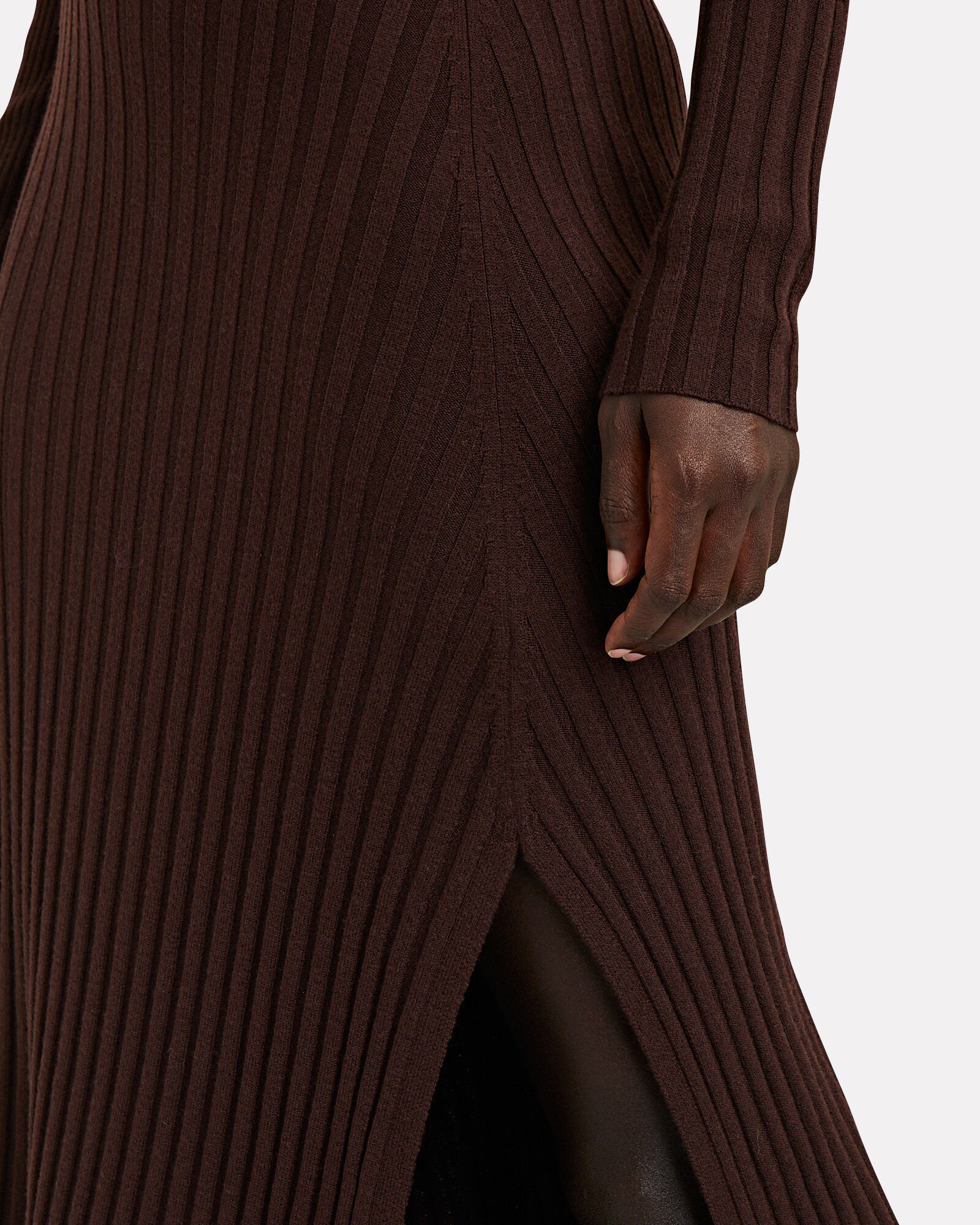Emmalynn Rib Knit Midi Dress, BROWN, hi-res