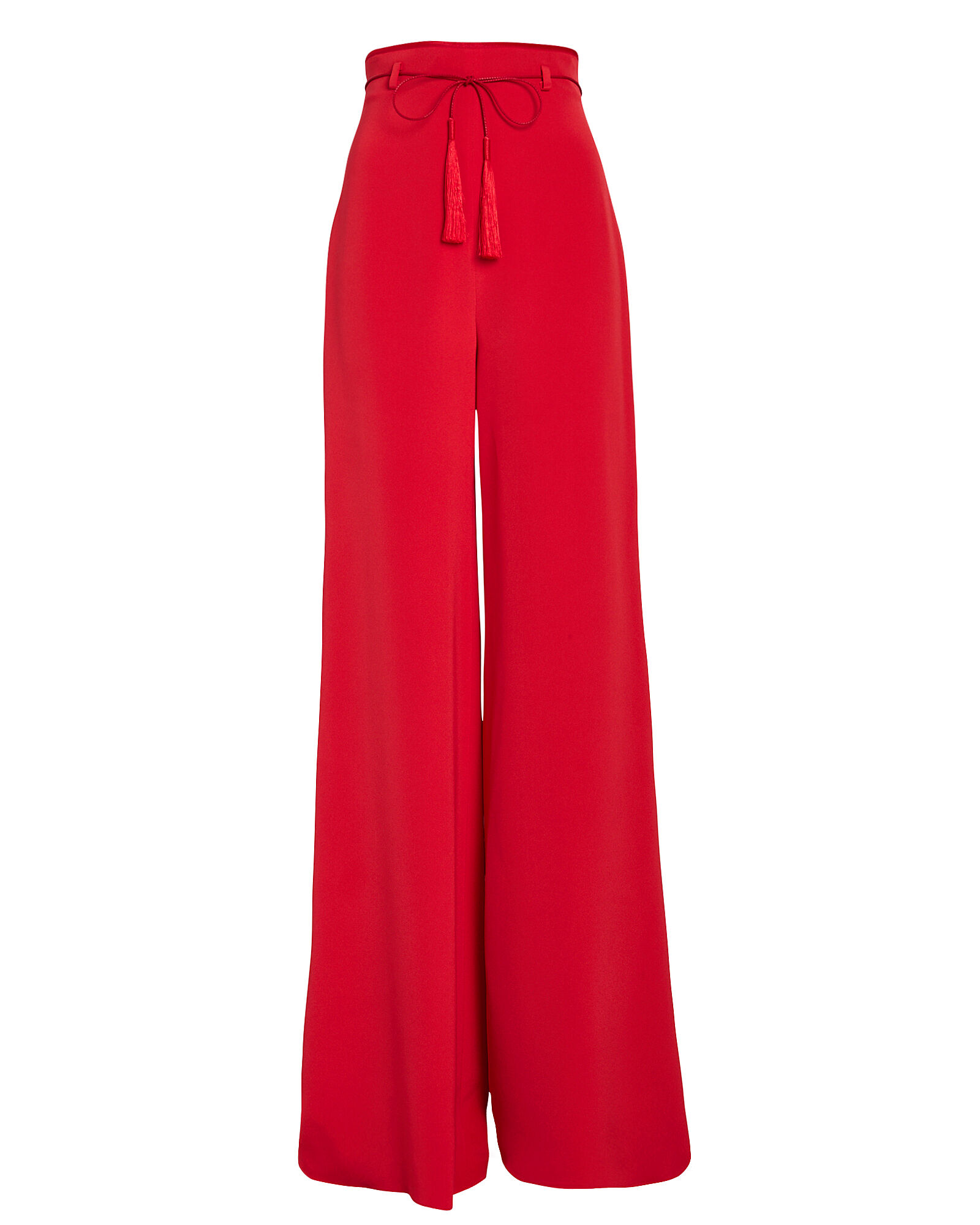 Tie Waist Wide Leg Silk Pants, RED, hi-res