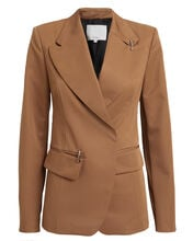 Recycled Tech Twill Peak Lapel Blazer, CAMEL, hi-res