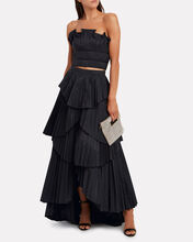 Ophelia Tiered High-Low Skirt, BLACK, hi-res