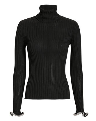 Crystal Cuff Knit Top, BLACK, hi-res
