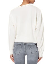 Snap Detail Cropped Sweater, IVORY, hi-res
