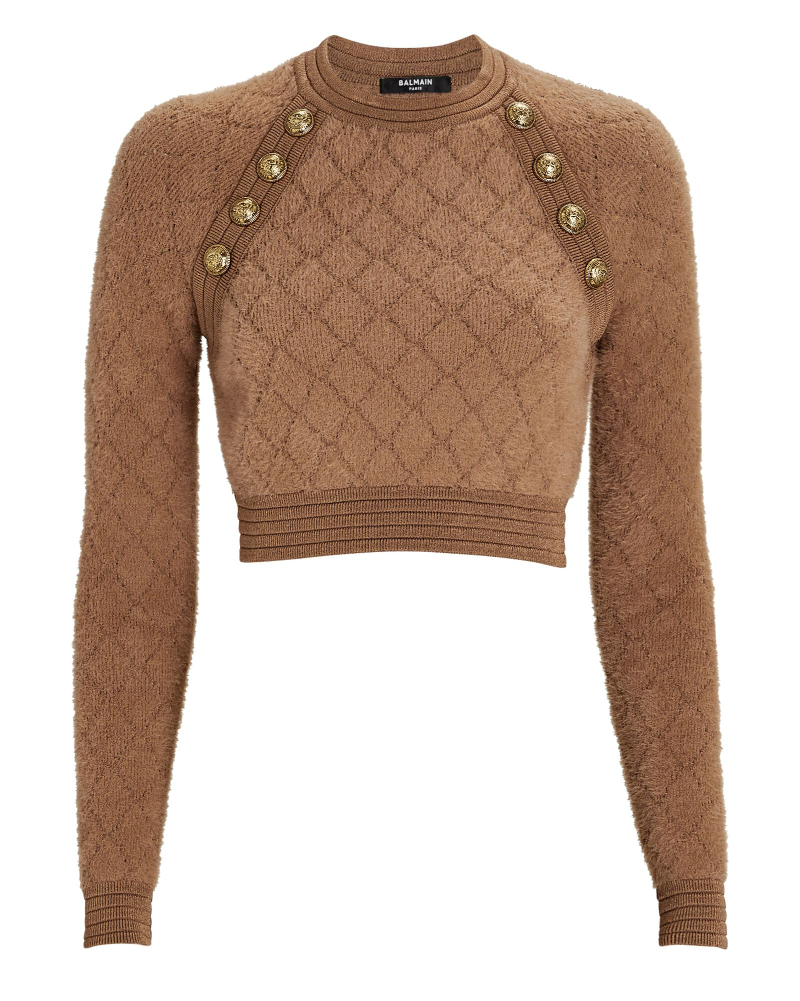Diamond Knit Cropped Sweater, BROWN, hi-res