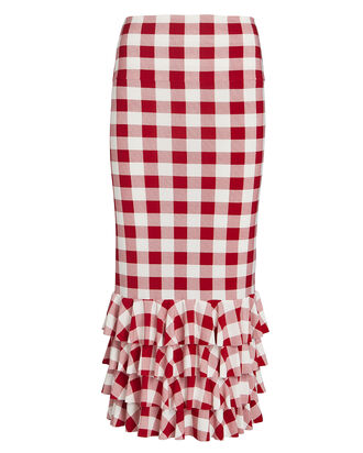 Ruffled Gingham Jersey Bodycon Skirt, , hi-res