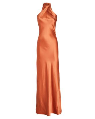 Eve Silk Halter Gown, ORANGE, hi-res