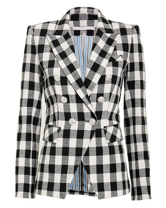 Miller Gingham Tweed Dickey Blazer, BLACK/WHITE, hi-res