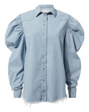 Cowboy Puff Sleeve Denim Shirt, DENIM-LT, hi-res