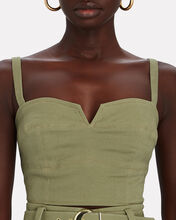 Ana Cropped Twill Bustier Top, GREEN, hi-res