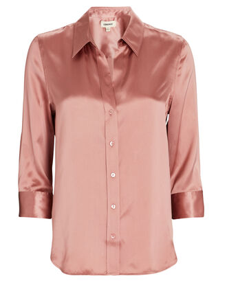 Dani Silk Button-Down Shirt, PINK, hi-res