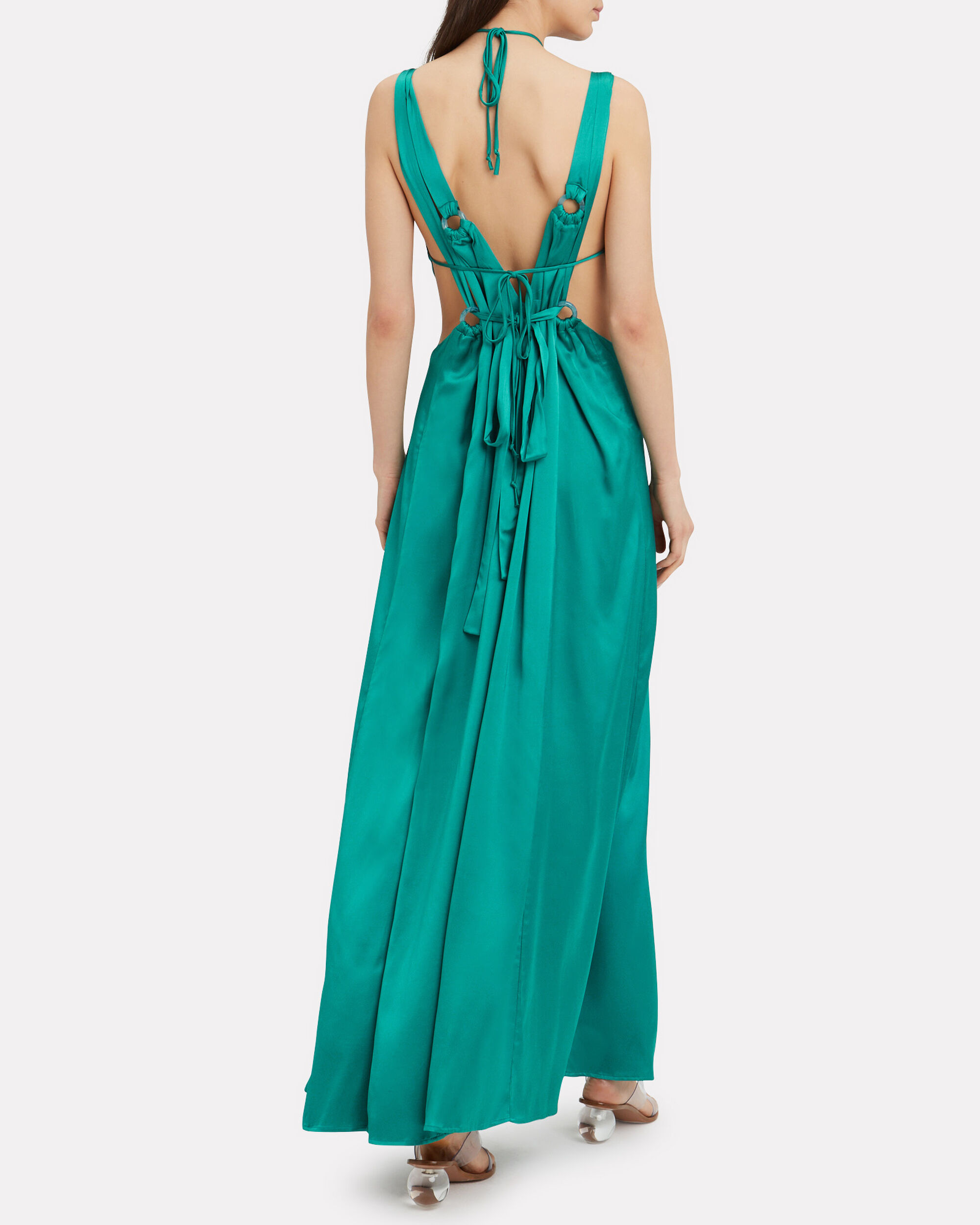 Sabine Satin Cutout Gown, TURQUOISE, hi-res