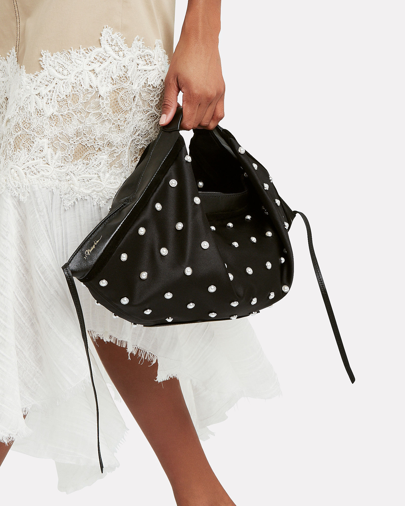 Luna Studded Mini Hobo Bag, BLACK, hi-res